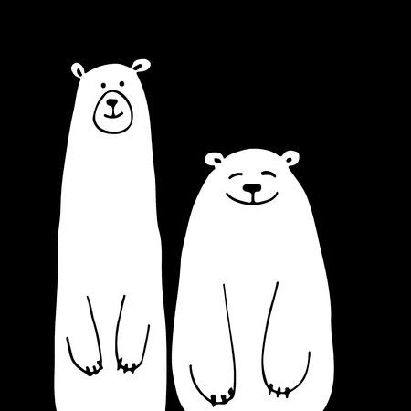 Grappige witte beren, schets voor uw ontwerp Stock Illustratie