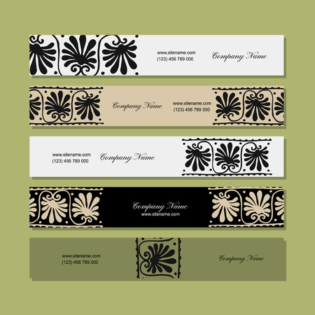 Banners design, ethnic floral ornament