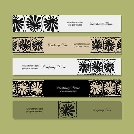 Banners design, ornamento floral étnico Foto de archivo - 82609484