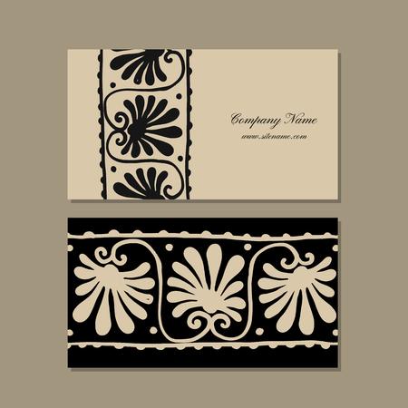 Business cards design, ethnic floral ornament