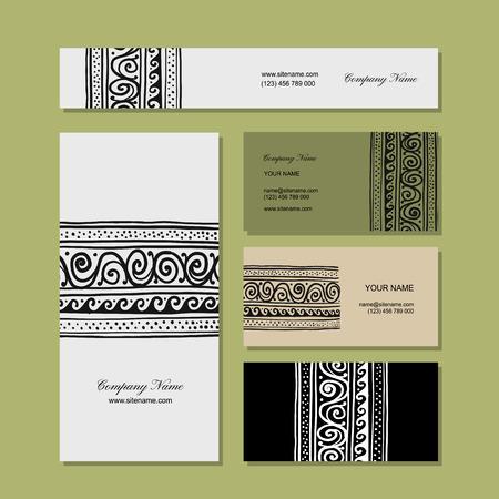 tibet: Business cards design, ethnic handmade ornament