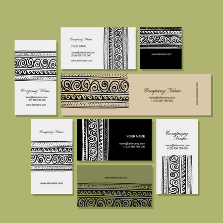 Business cards design, ethnic handmade ornament