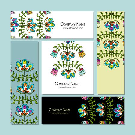 ビジネス カードのデザイン、フォーク スタイルの花の背景