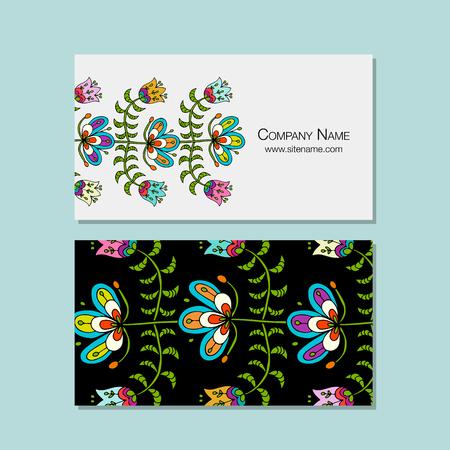 ビジネス カードのデザイン、民俗の花の背景をスタイルします。ベクトル図