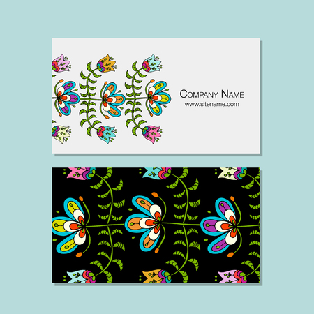 Business cards design, folk style floral background. Vector illustration Çizim