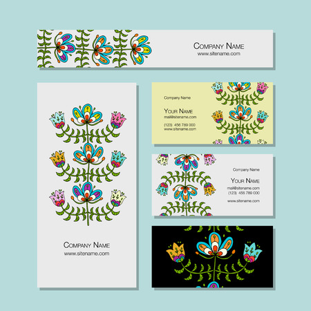 Business cards design, folk style floral background. Vector illustration Illustration