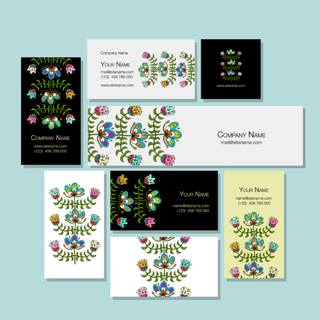 Business cards design, folk style floral background