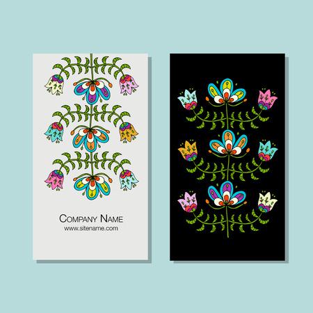 Business cards design, folk style floral background