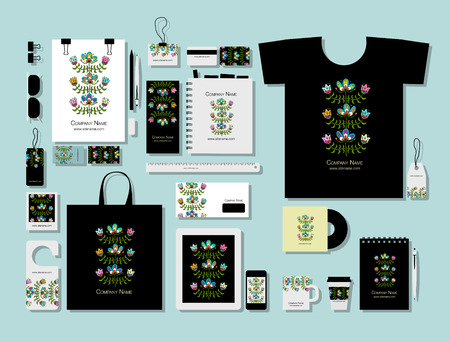 Corporate flat mock-up template, folk style floral design Ilustrace