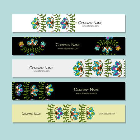 バナー広告デザイン、民謡風の花の背景