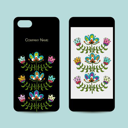 携帯電話のデザイン、フォーク スタイルの花の背景  イラスト・ベクター素材