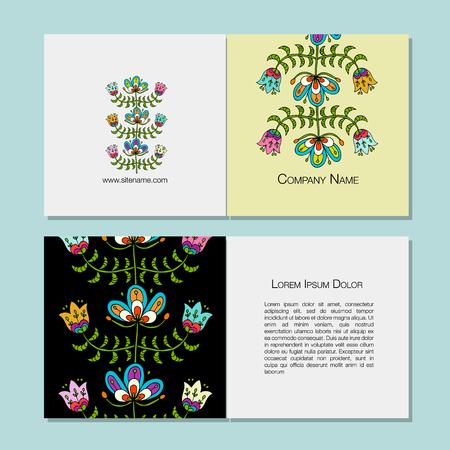 명함 디자인, 민속 스타일 꽃 배경