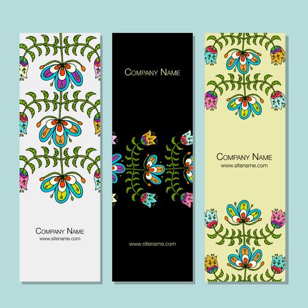 Banners design, folk style floral background Ilustrace