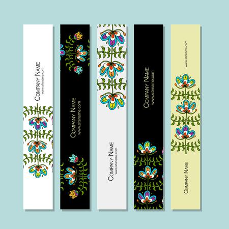 Banners design, folk style floral background Çizim