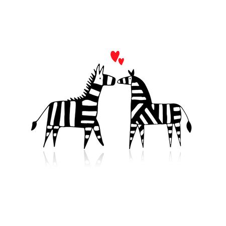 Zebra couple in love, sketch for your design Illustration