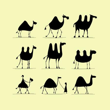 Camel set, sketch for your design 向量圖像