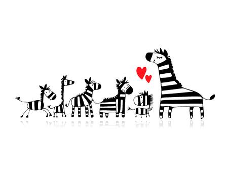 얼룩말 가족, 어머니와 어린이, 디자인에 대한 스케치