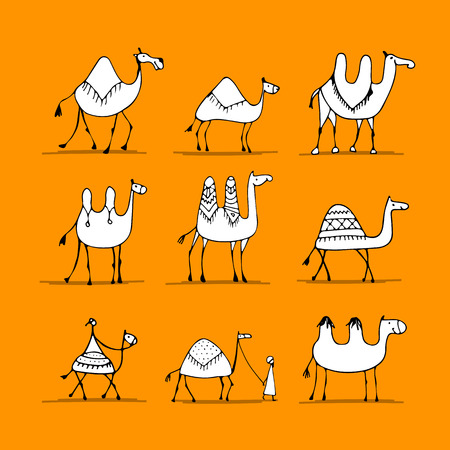 Camel set, schets voor uw ontwerp Stock Illustratie