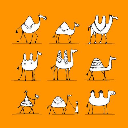 Camel set, sketch for your design Ilustração