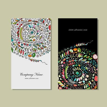 ビジネス カードのデザイン、花の背景  イラスト・ベクター素材