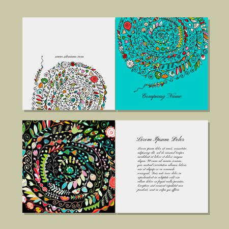Greeting card design, floral pattern. Vector illustration