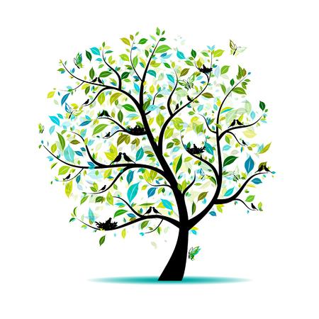 Árvore de primavera para seu projeto Ilustración de vector