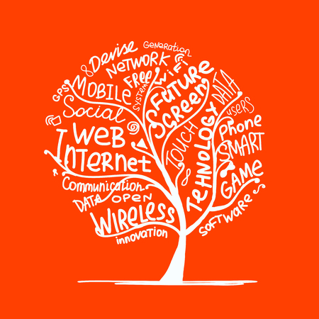 Art tree concept with internet technology tags
