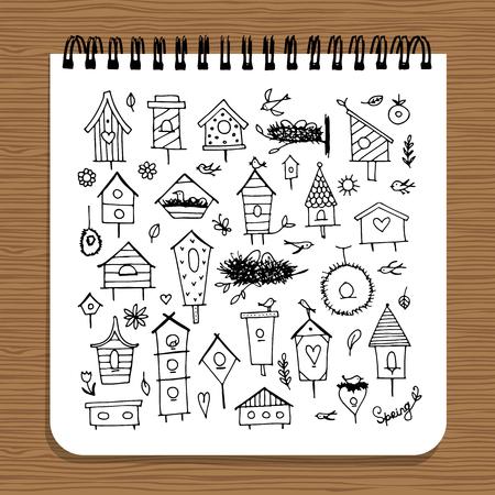 Notebook design, birdhouses sketch Illustration