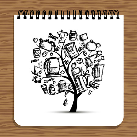 Notebook design, kitchen utensils tree