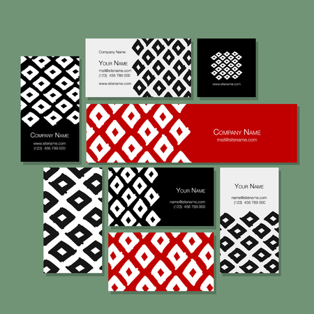 Business cards design, geometric fabric pattern Illustration