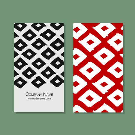 Business cards design, geometric fabric pattern Illustration