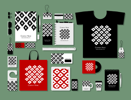 Corporate flat mock-up template, geometric fabric pattern