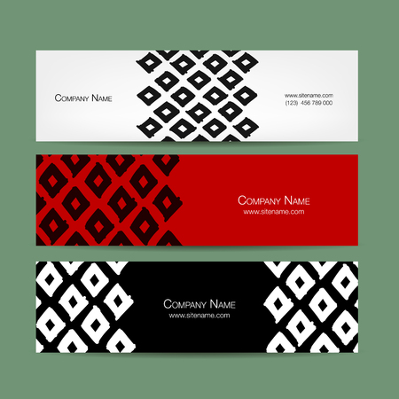 Banners design, geometric fabric pattern Illustration