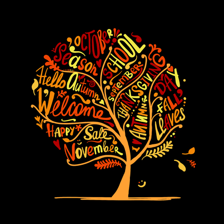 Autumn tree for your design. Vector illustration
