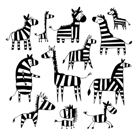 Zebra family, sketch for your design Vector illustration. 矢量图像