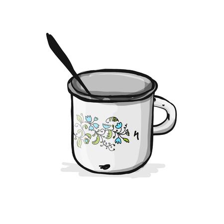 Old enameled mug, sketch for your design Vector illustration.