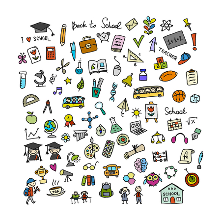 Back to school, icons for your design Vector illustration