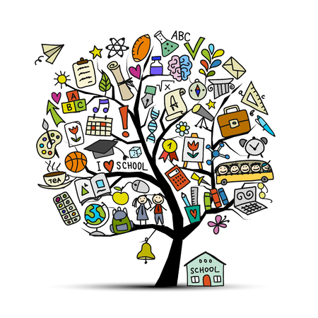 Back to school, art tree for your design Vector illustration Çizim