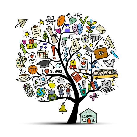 Torna a scuola, albero d'arte per la progettazione Illustrazione vettoriale Archivio Fotografico - 84180715