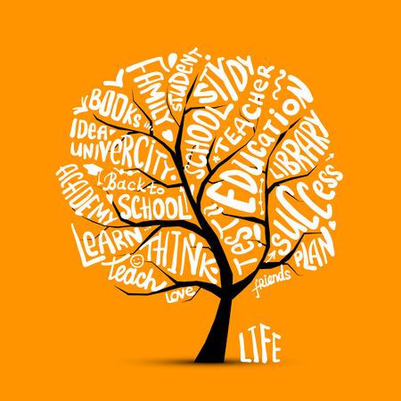 Terug naar school, kunst boom voor uw ontwerp Vector illustratie