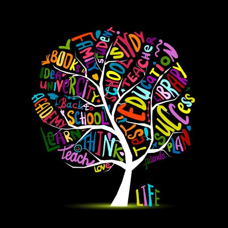 Back to school, art tree for your design Vector illustration Illustration