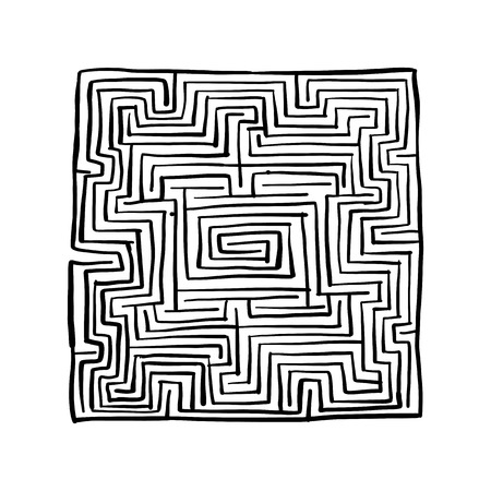 Laberinto cuadrado, boceto para su diseño. Ilustración vectorial