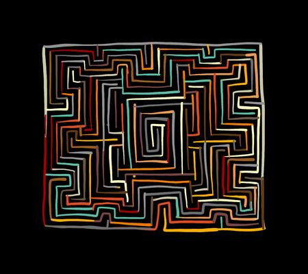 Labyrinth square, sketch for your design. Illustrazione vettoriale Vettoriali