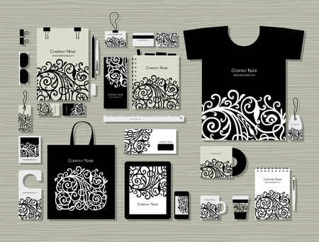 Corporate flat mock-up template, floral design vector illustration.