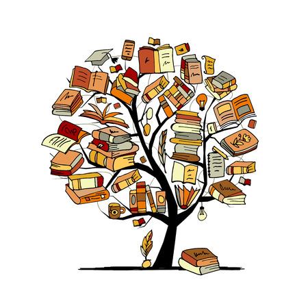 Árbol de libros, boceto para su diseño. Ilustración vectorial
