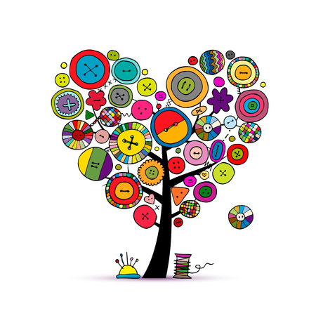 Sew with love, tree with buttons. Sketch for your design
