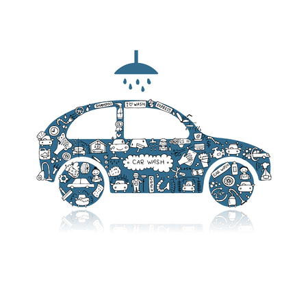Autowaschen, Vektor-Icons Skizze für Ihr Design Standard-Bild - 84283705