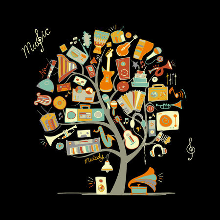 audio book: Music instruments tree, sketch for your design