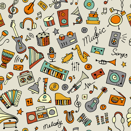 Music instruments sketch, seamless pattern for your design Stock Illustratie