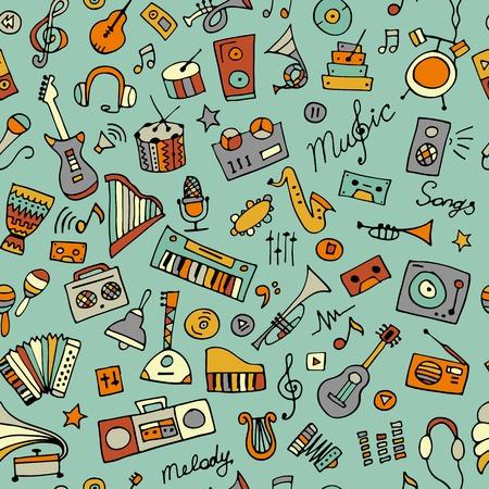 Music instruments sketch, seamless pattern for your design Ilustração
